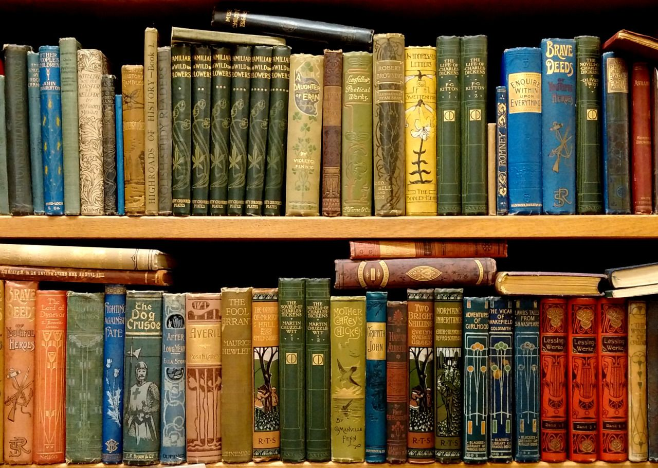 Old books shelves of old victorian books in our whitehaven book shop