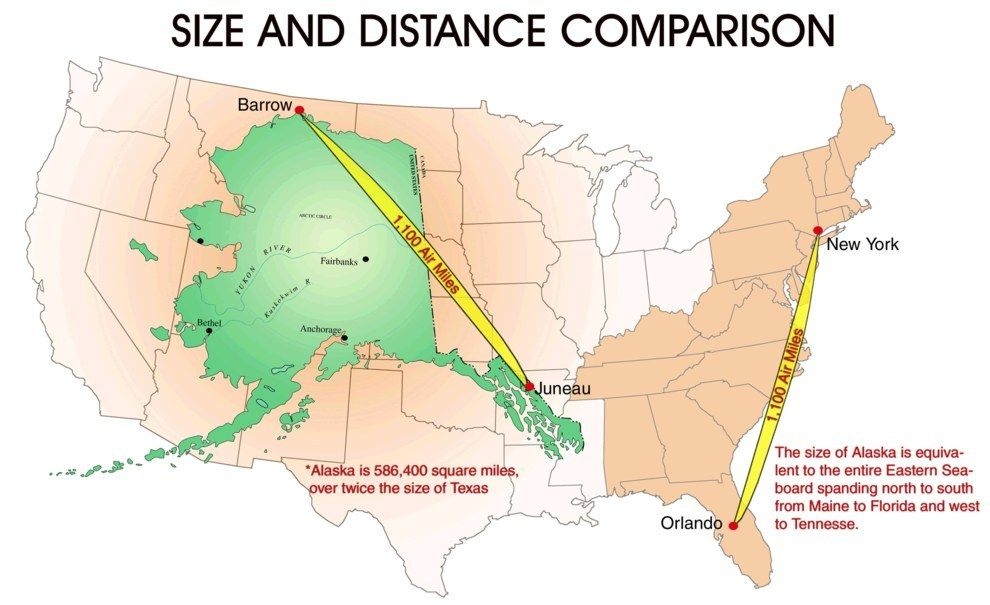 Maps That Explain The USA For Dummies Alaska - Us distance map