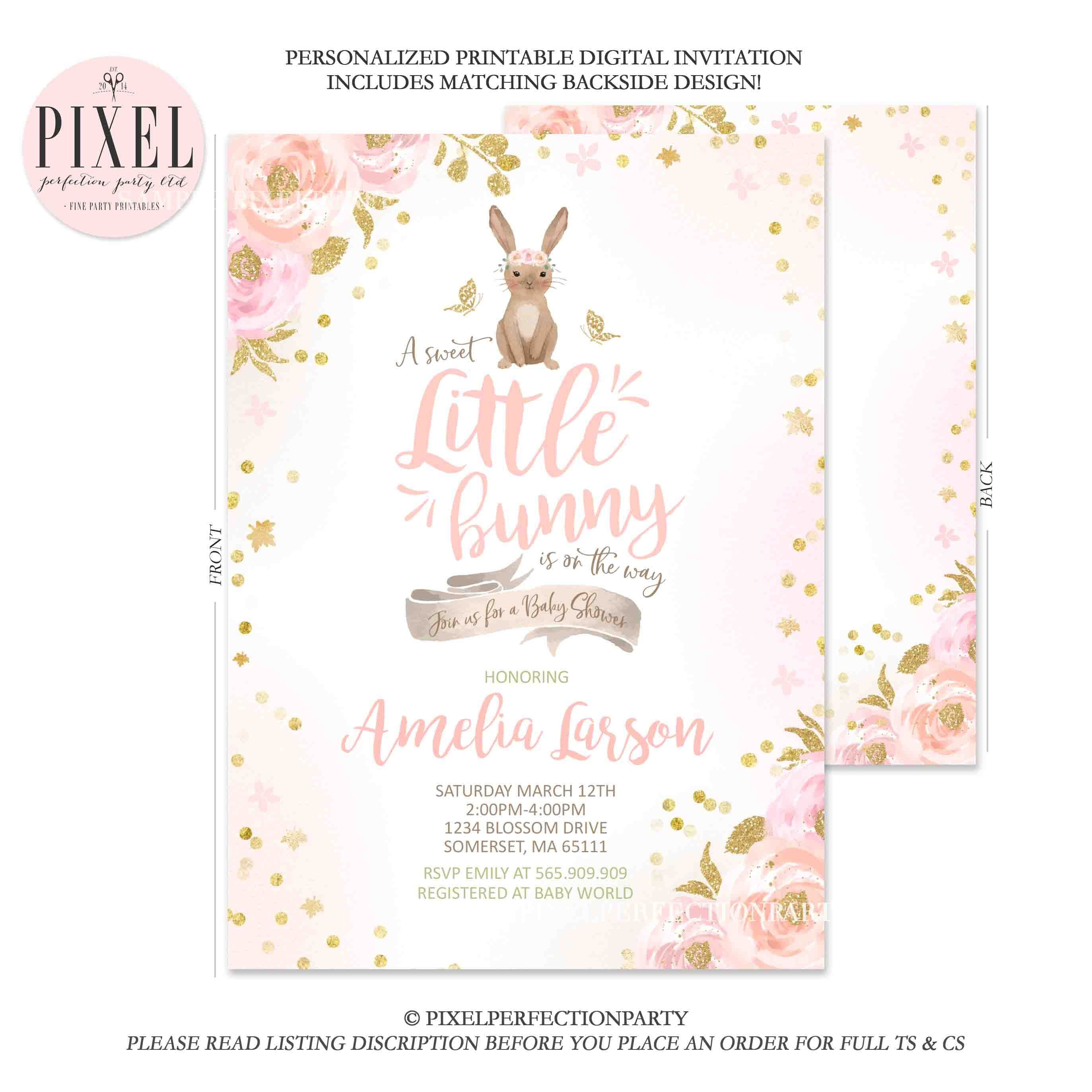 Bunny Baby Shower Invitation Spring Bunny Baby Shower