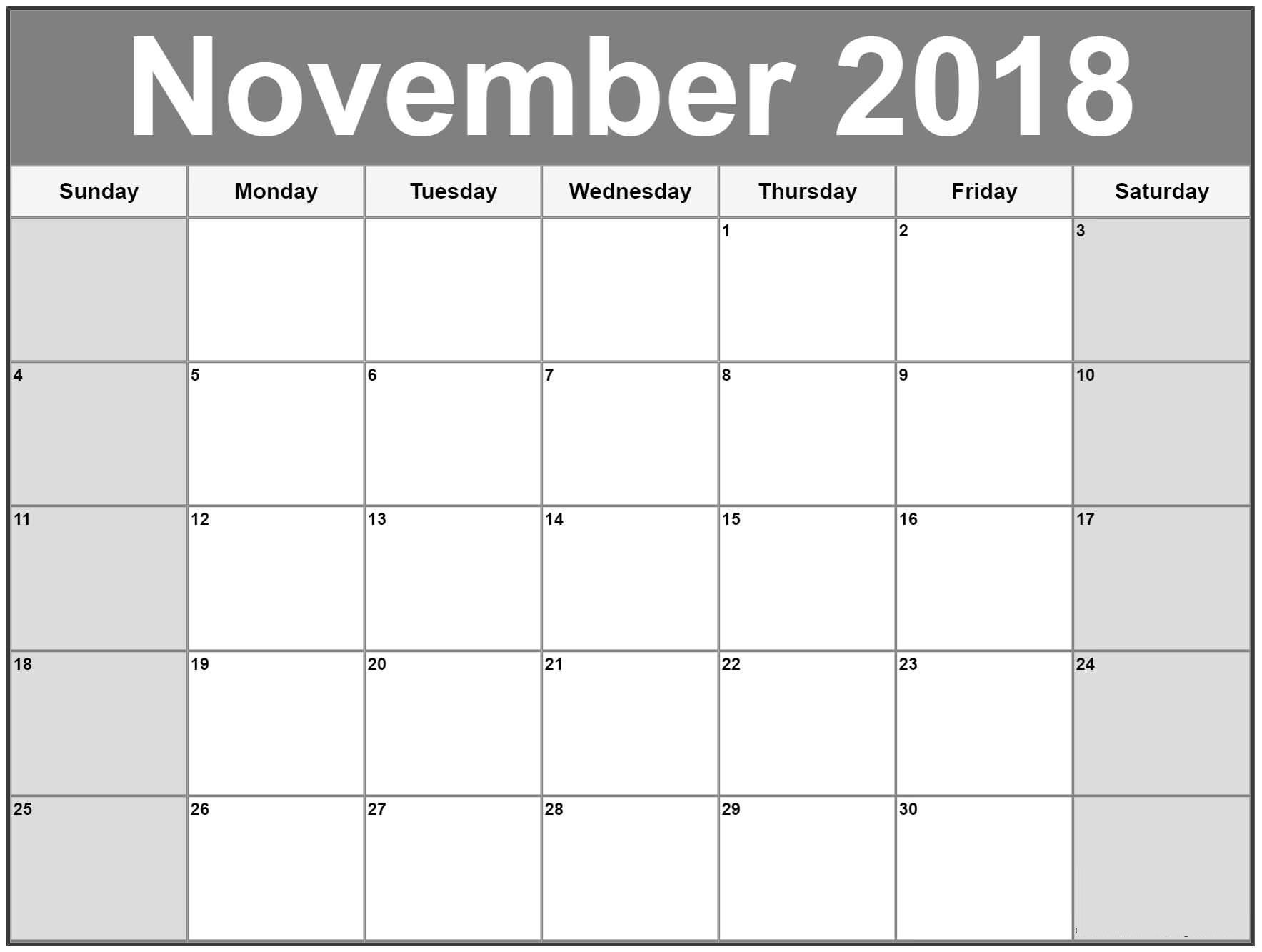 November 2018 Calendar Printable Templates Blank Excel Pdf Free