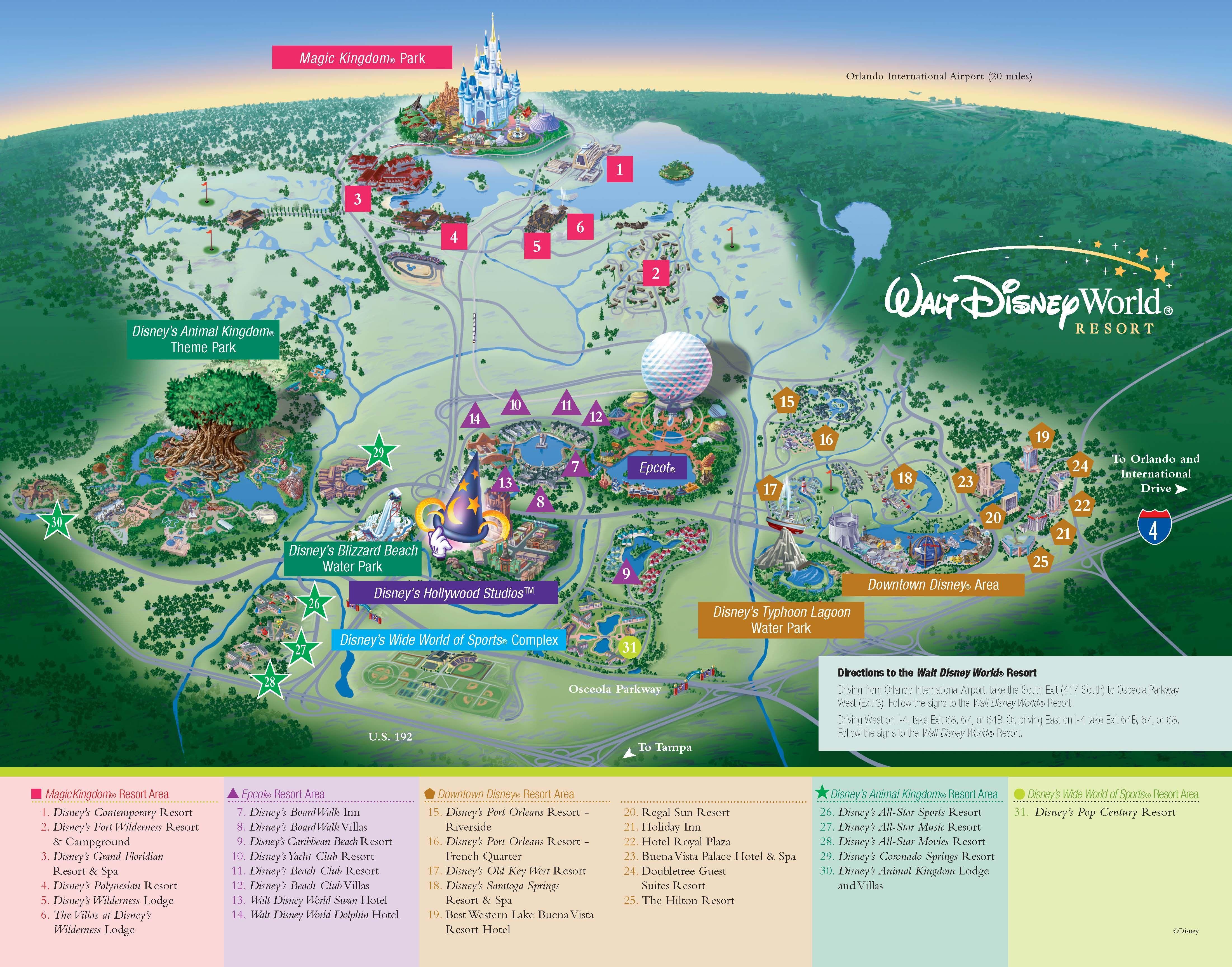 Walt Disney World Resorts Resort Map