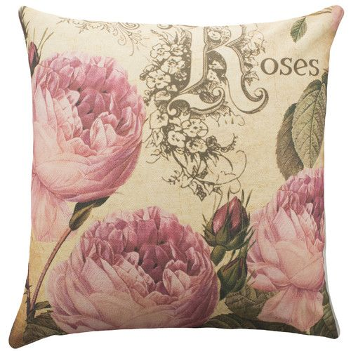 Roses Cotton Throw Pillow Throw Pillows Cotton Throw Pillow Pillows