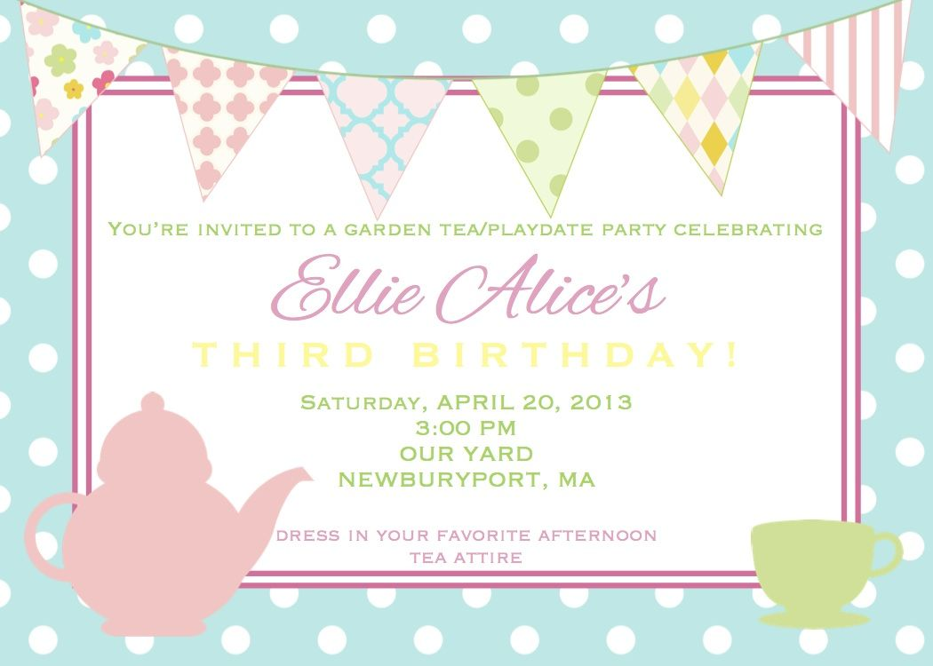Tea party invitations greeting cards carlies 7th birthday party tea party invitations greeting cards monicamarmolfo Image collections