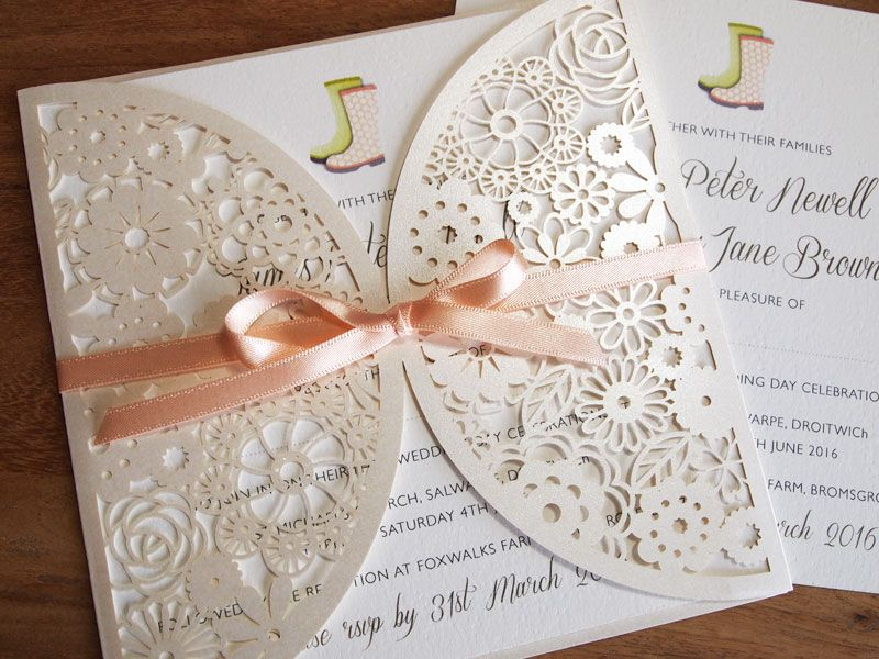 Festival Style Wedding Invitations Wedfest Welly Boots In A Field Electric