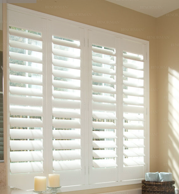 Wood Shutters Bathroom Window