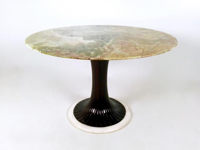 Pedestal Dining Table with Onyx Top by Osvaldo Borsani, 1950s for sale at Pamono