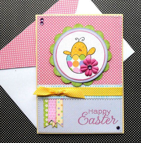 Easter Greeting Card with Matching by SewColorfulDesigns on Etsy