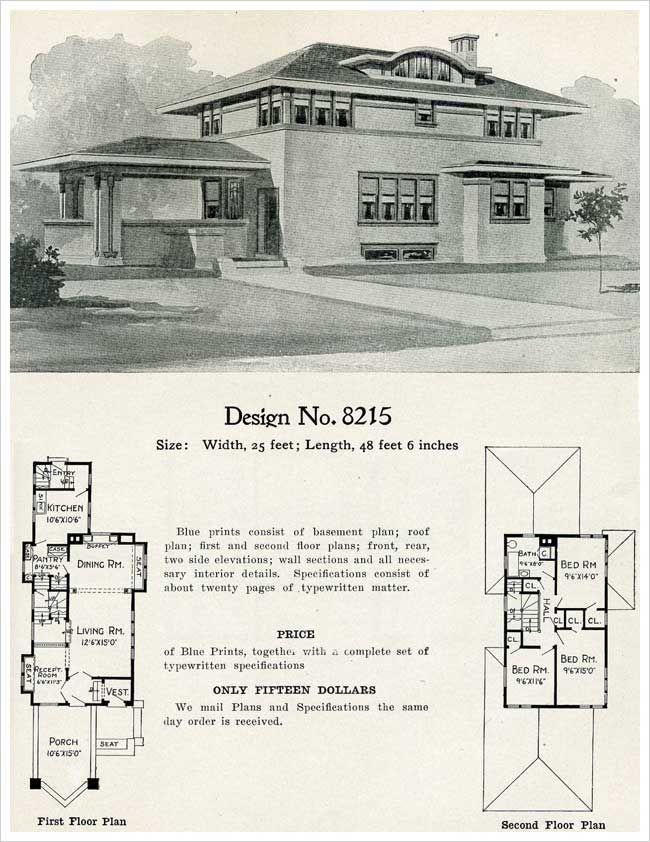Radford 1909 Prairie Influenced Cement House Plan Model 8125 Prairie Style Houses Cement House Craftsman House Plans
