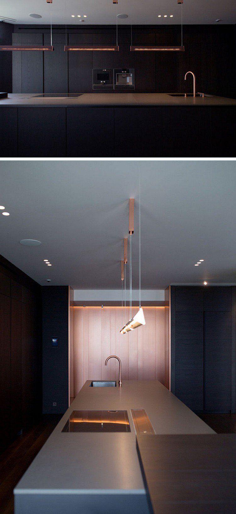 Luminaire Cuivre Design Cuisine Minimaliste Hyper Moderne #luminaire  #design #apartment