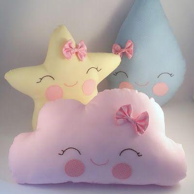9c8db43dc49b4a Almofadas - nuvem, gota e estrela. | Pillows | Almofadas, Almofada ...