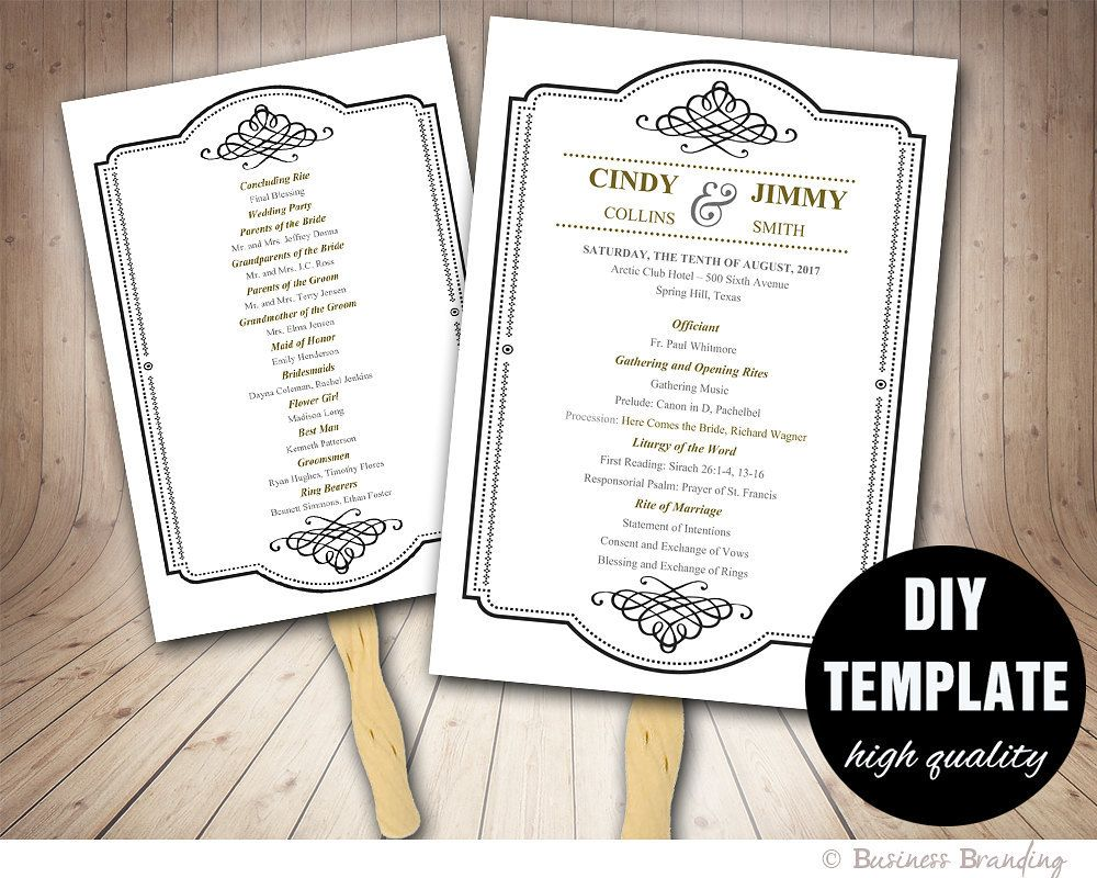 black and gold wedding program fan template diy instant download