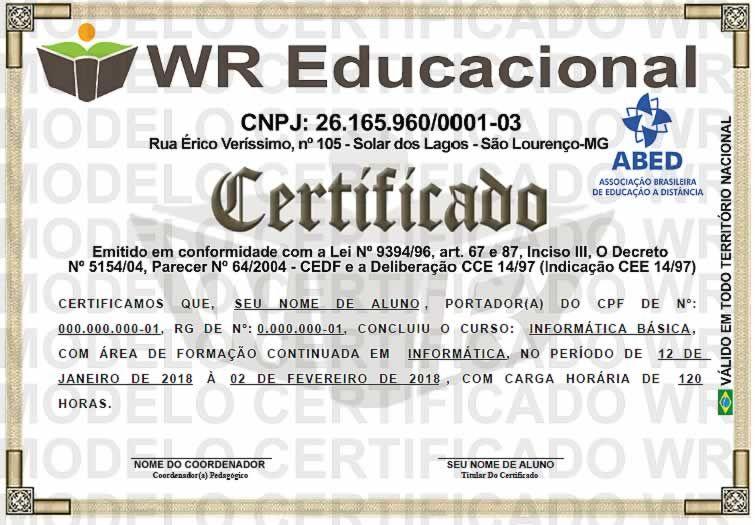 Certificado Wr Educacional Frente Com Imagens Certificado