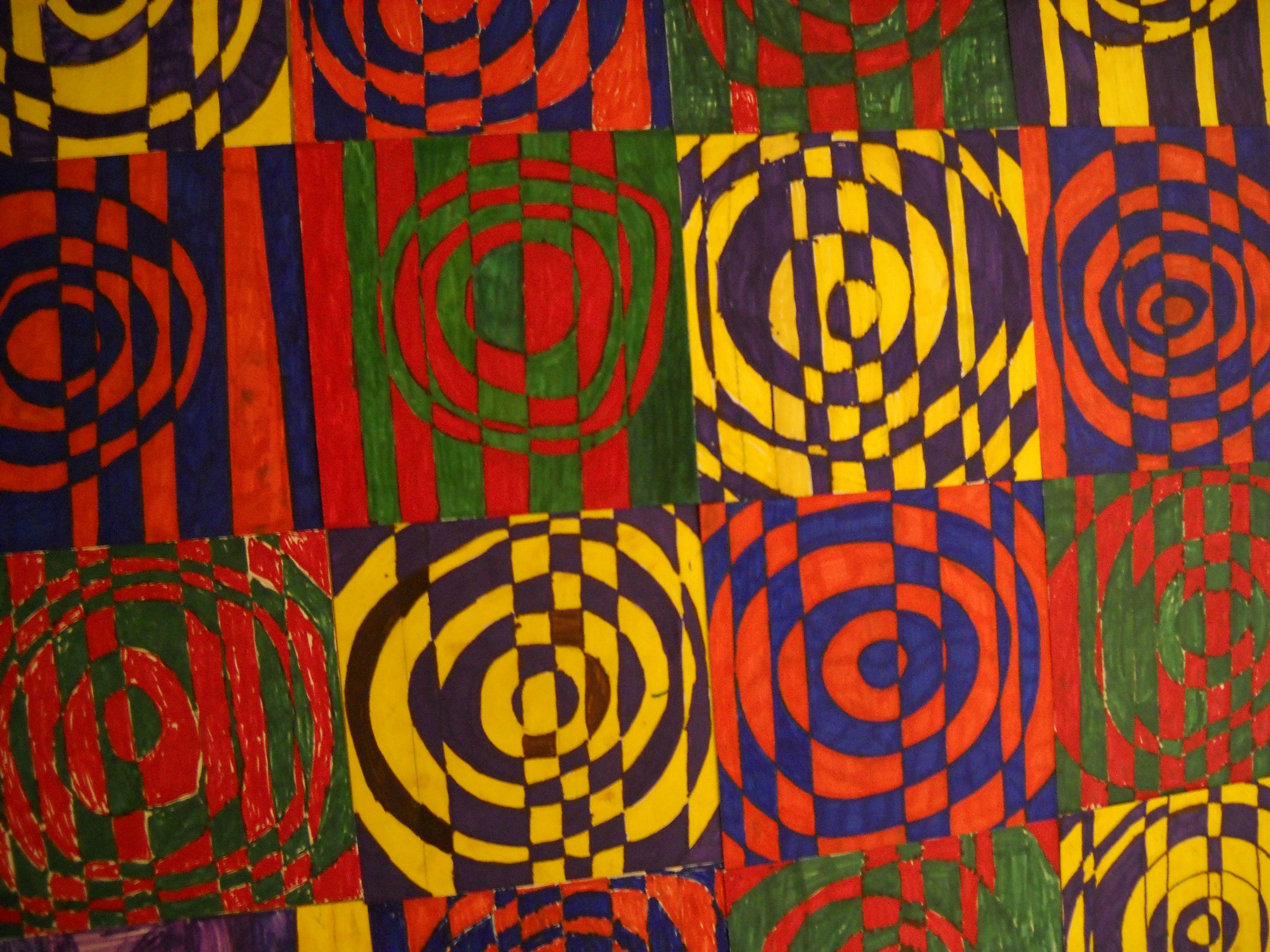 Complementary Colored Op Art Draw 7 10 Vertical Lines