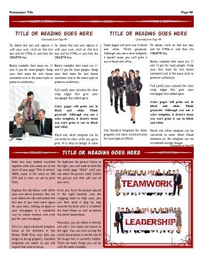 """A great inside page that has room to highlight an individual, product, or message. Try this 11""""x14"""" newspaper template now using our Free Cloud Designer: www.makemynewspaper.com/free-newspaper-templates"""