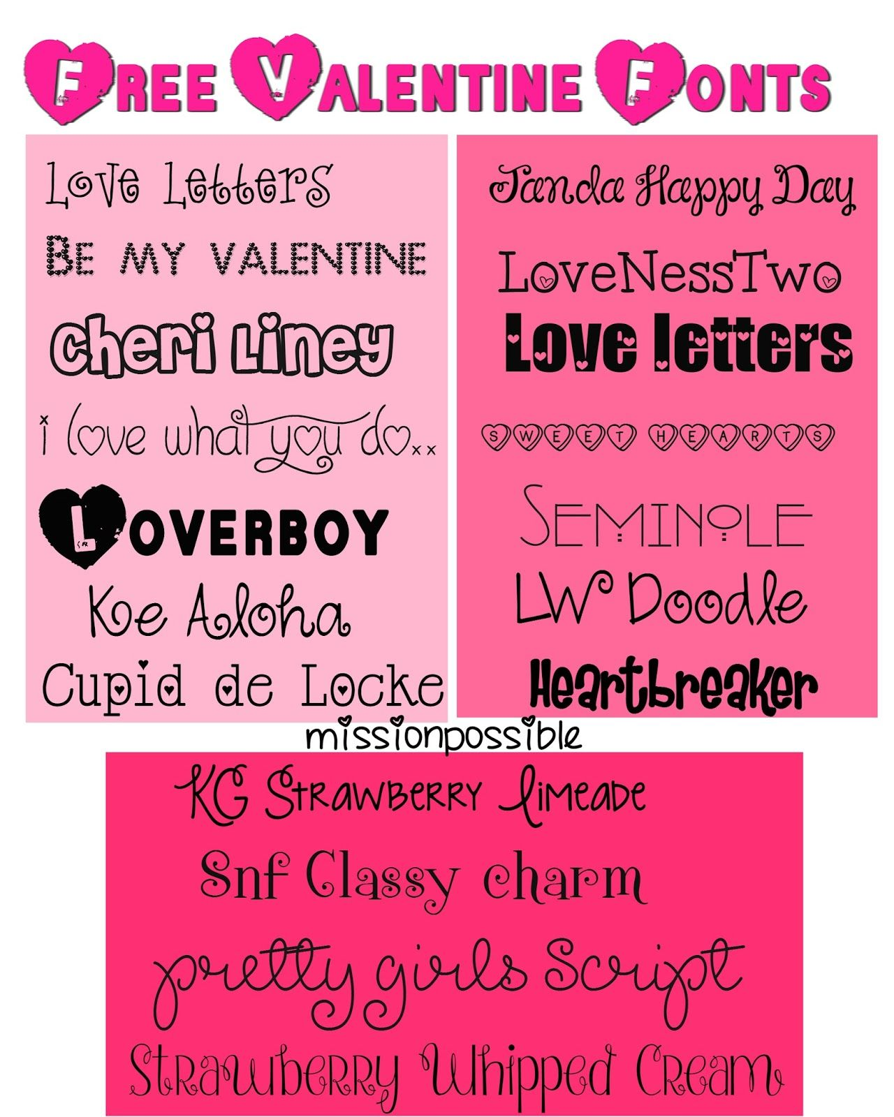 Mimi Lee Printables & More Free Valentines Day Fonts