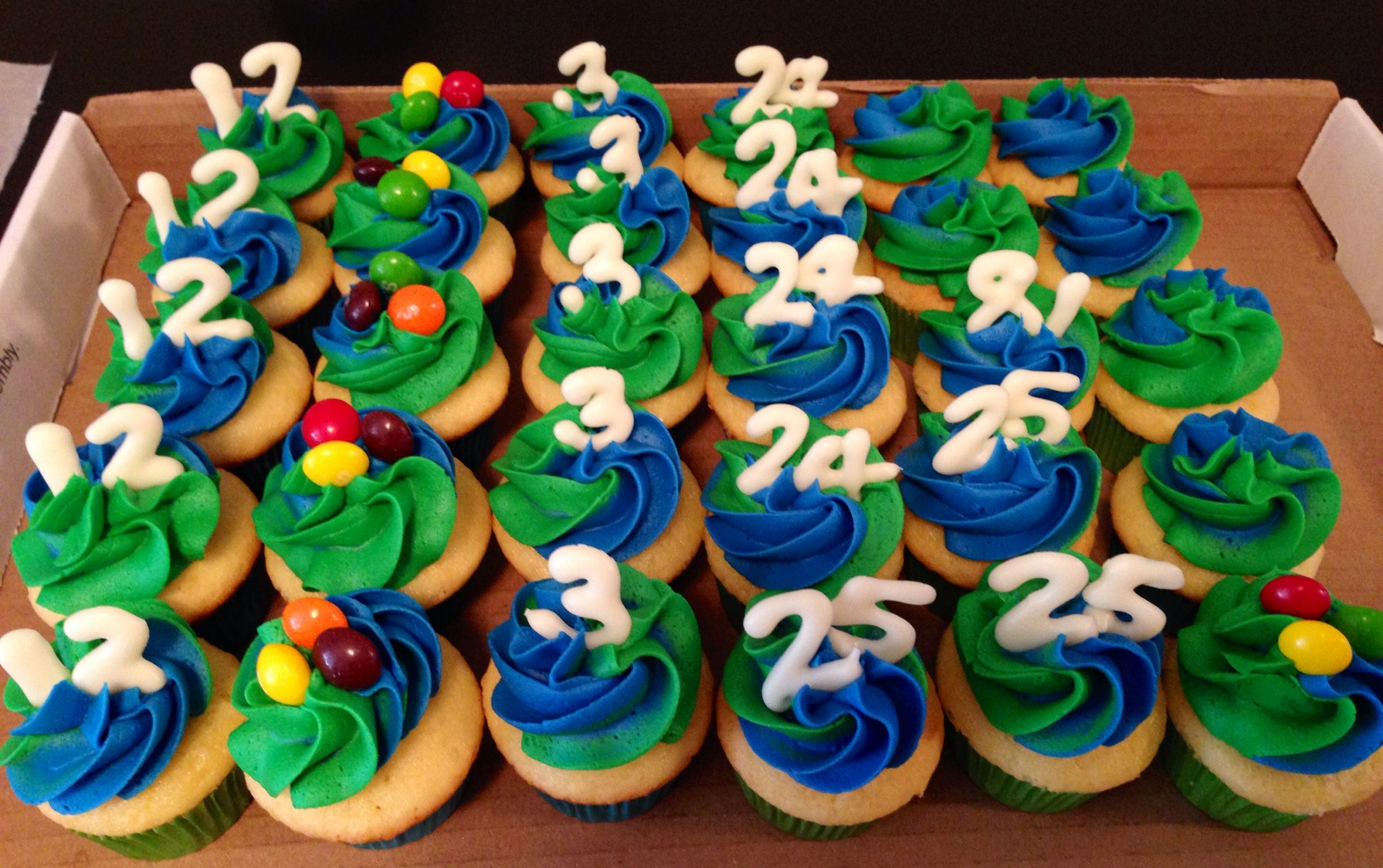Mini Seattle Seahawks Cupcakes. Numbers are made from white ...