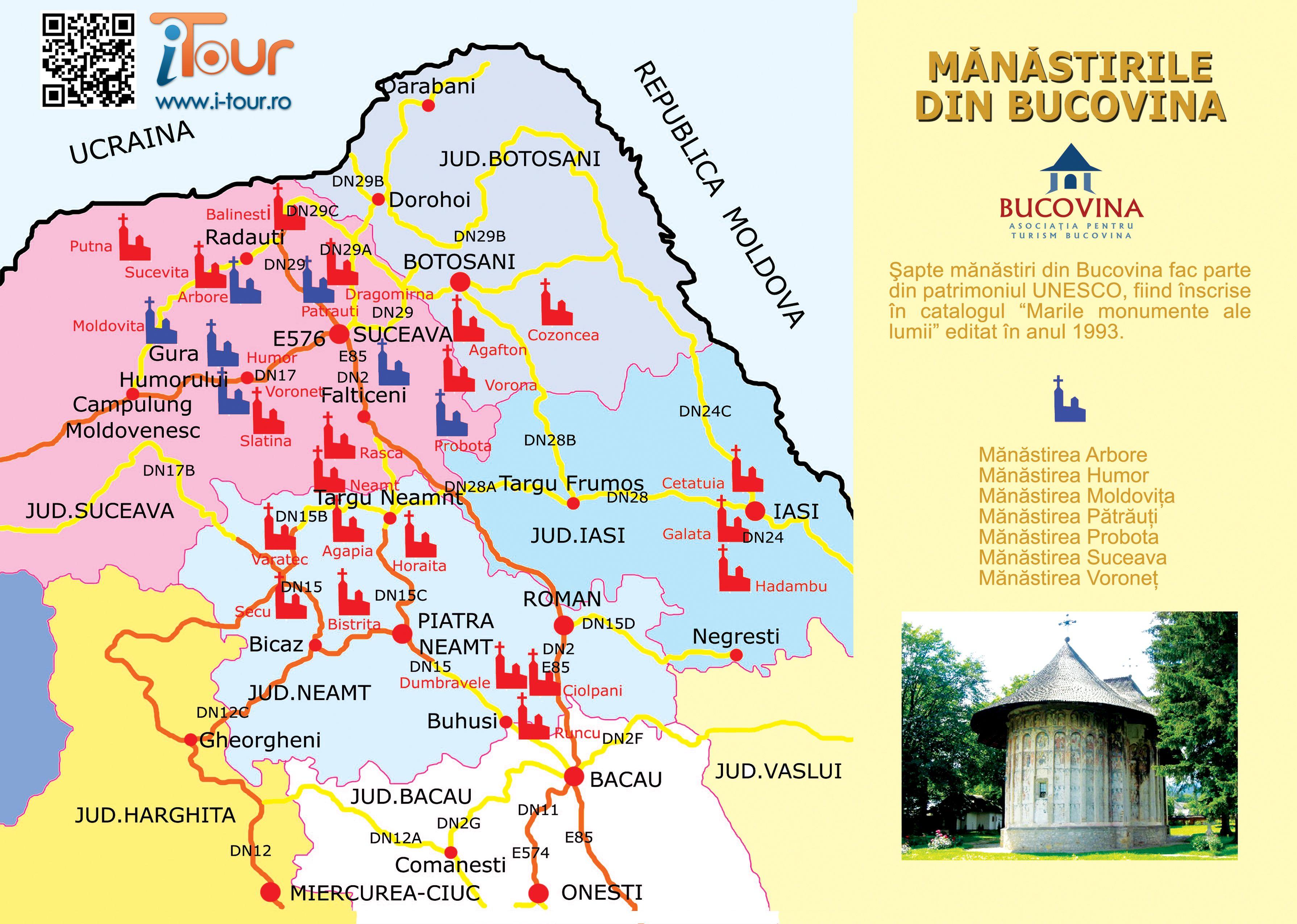 Harta Manastirilor Din Bucovina Monasteries Of Bucovina