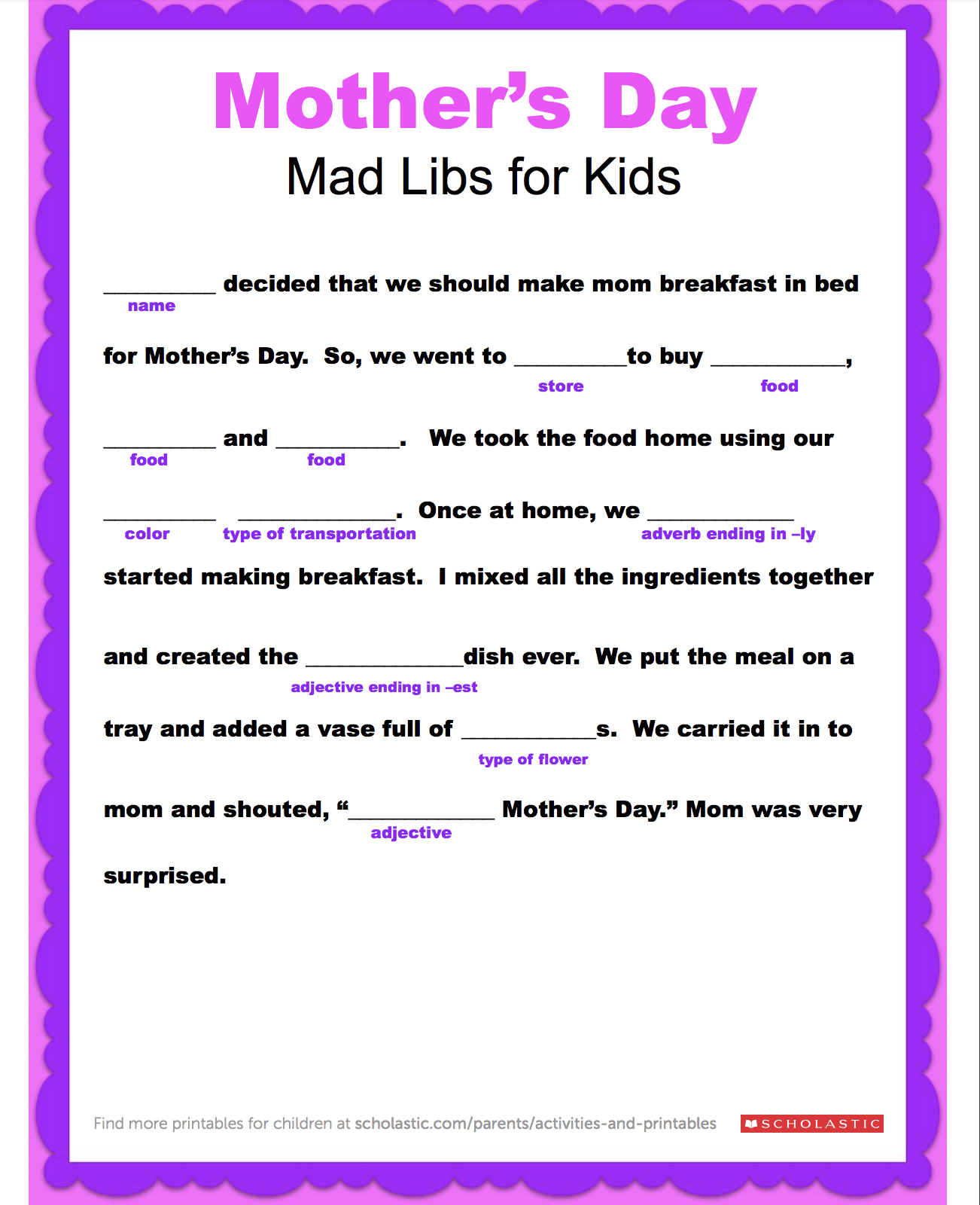 Enjoy A Mother S Day Mad Libs With Your Child