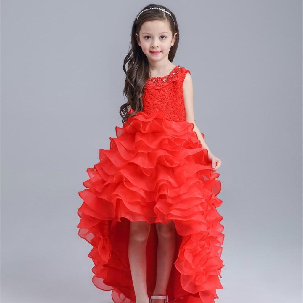 2e27e19a8 Latest Red Tailed Children Dress Princess Short Front Long Back ...
