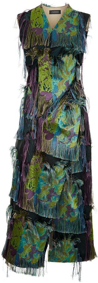 Litkovskaya Multi-Coloured Frayed Jungle Dress