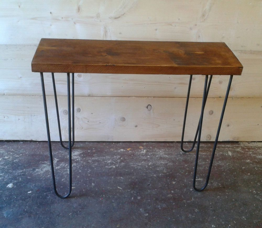 Vintage industrial side console table rustic bench with hairpin vintage industrial side console table rustic bench with hairpin legs geotapseo Image collections