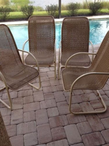 VINTAGE 1970s LLOYD FLANDERS Retro Wicker 4 CHAIRS