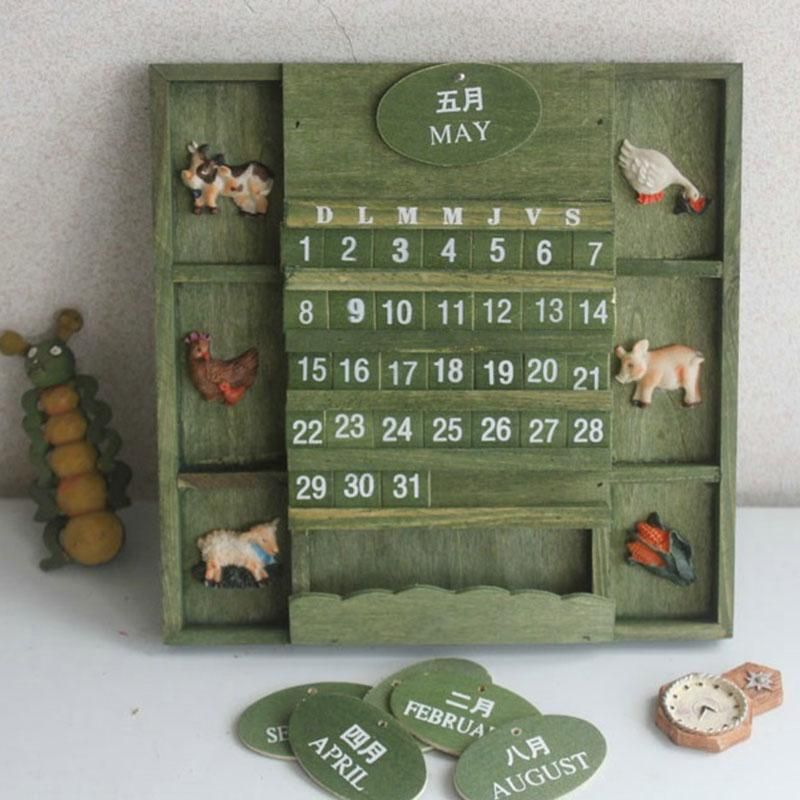 Vintage American Country Style Hanging Wall Calendar Wood Home Decor Cute     BuyinCoins.com