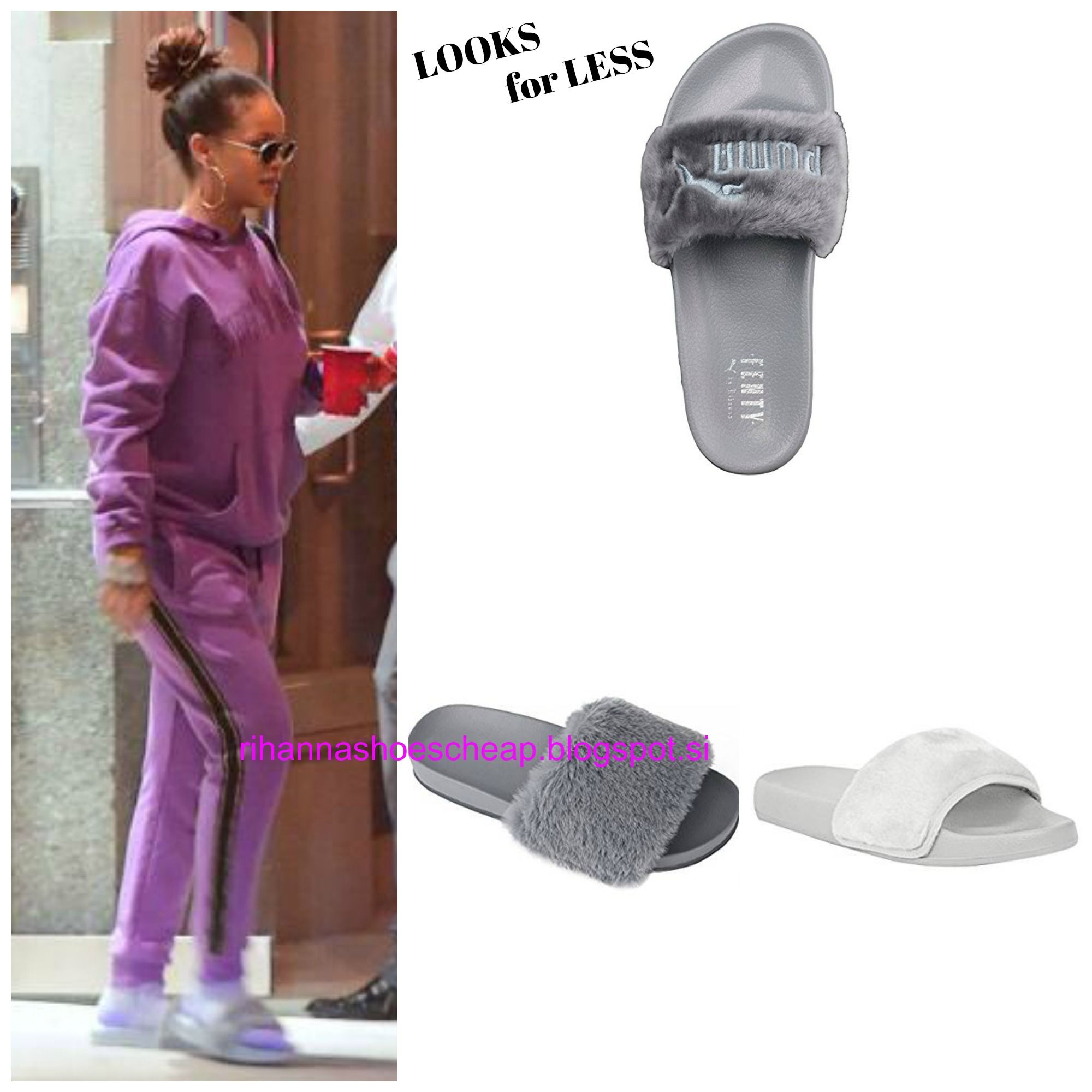 RIHANNA LOOKS FOR LESS rihannalooks.blogspot.si Faux Fur Slide Sandals Gray  Fenty by. Zapatos De RihannaSandalias De DiapositivasModa ...