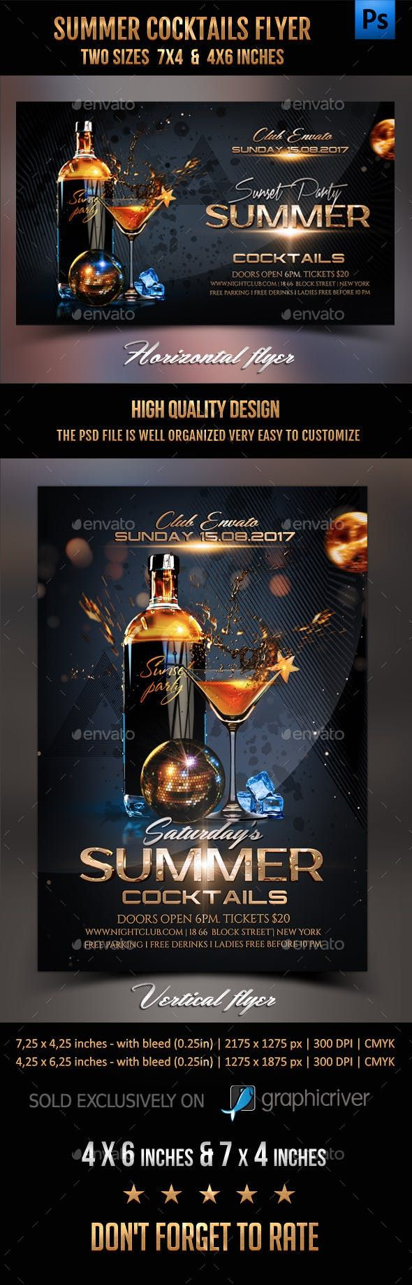 Photo of Summer Cocktails Party Flyer – Photoshop PSD #cocktail night #club