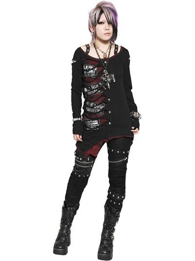 Custom 2WAY GRUNGE PUNK SLASH Cardigan (S) SB006040009 is part of Clothes Grunge Punk - The belts on the shoulder are removable