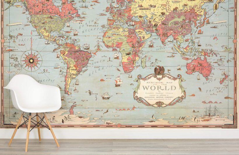 Kids Vintage Map Wallpaper Mural Muralswallpaper World Map