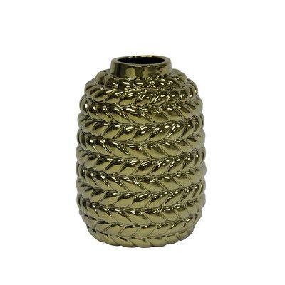 SagebrookHome Rope Ceramic Vase Color: