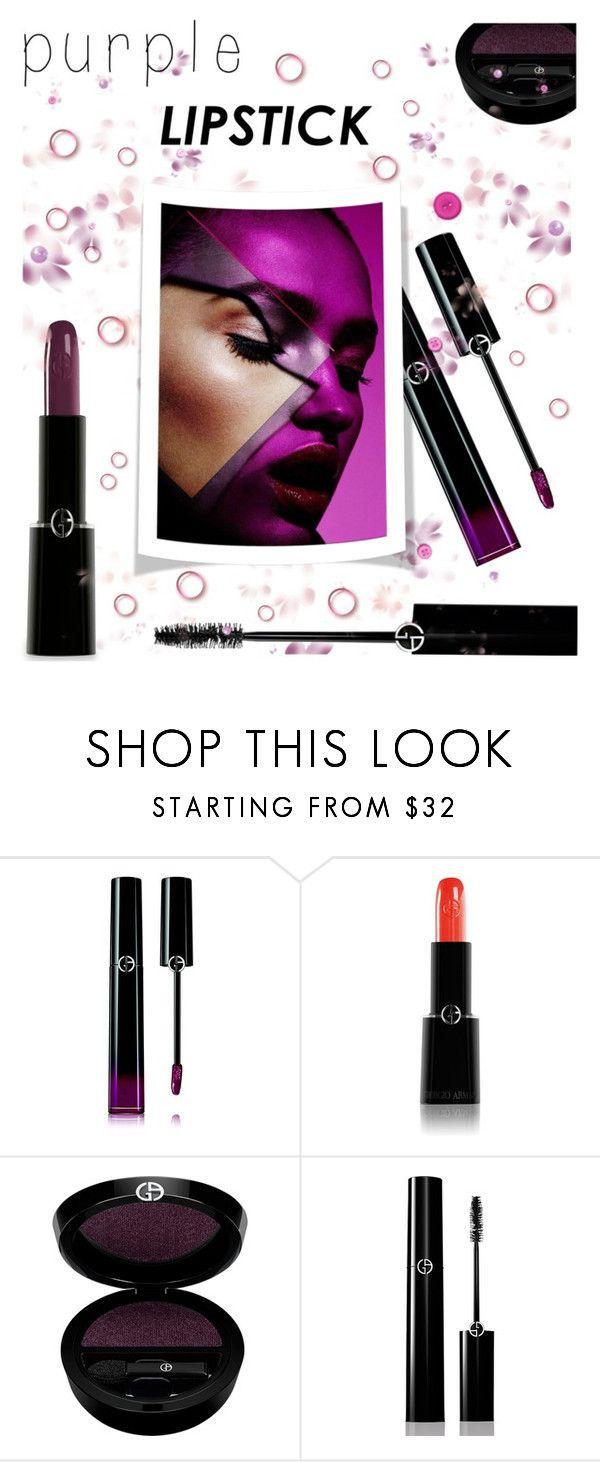 """Beauty Trend We Love: Purple Lipstick"" by rasa-j ❤ liked on Polyvore featuring beauty, Giorgio Armani, beautyset and purplelipstick"