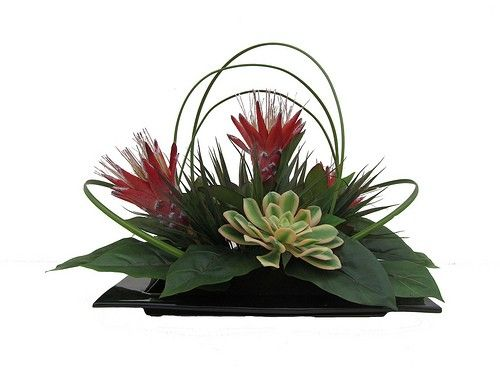 Tropical Silk Flower Arrangement Protea Succulents Www Silkplantsforever Com Faux Flower Arrangements Flower Arrangements Artificial Flower Arrangements