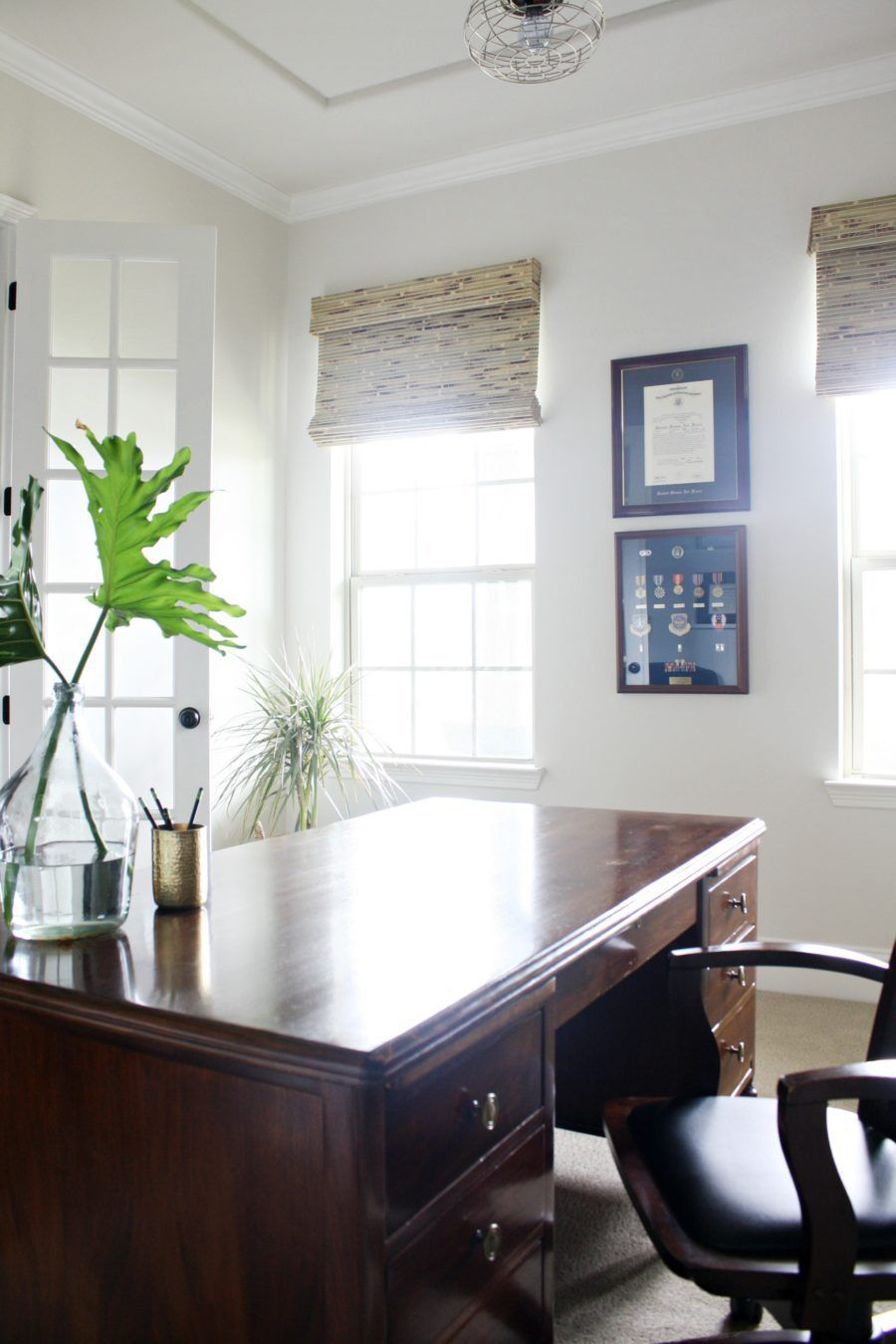 Home Office Get a Polished Look with Built-ins and Bamboo Shades ...