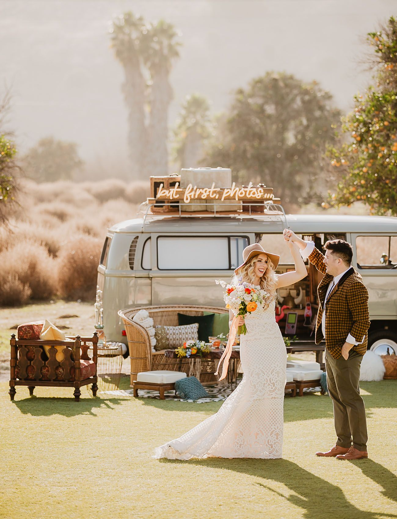 Here Comes The Sun Groovy Mustard Yellow 70s Wedding Inspiration With A Vw Bus Green Wedding Shoes In 2020 Vintage Wedding Theme Vintage Wedding Dresses Uk Orange County Wedding Venues