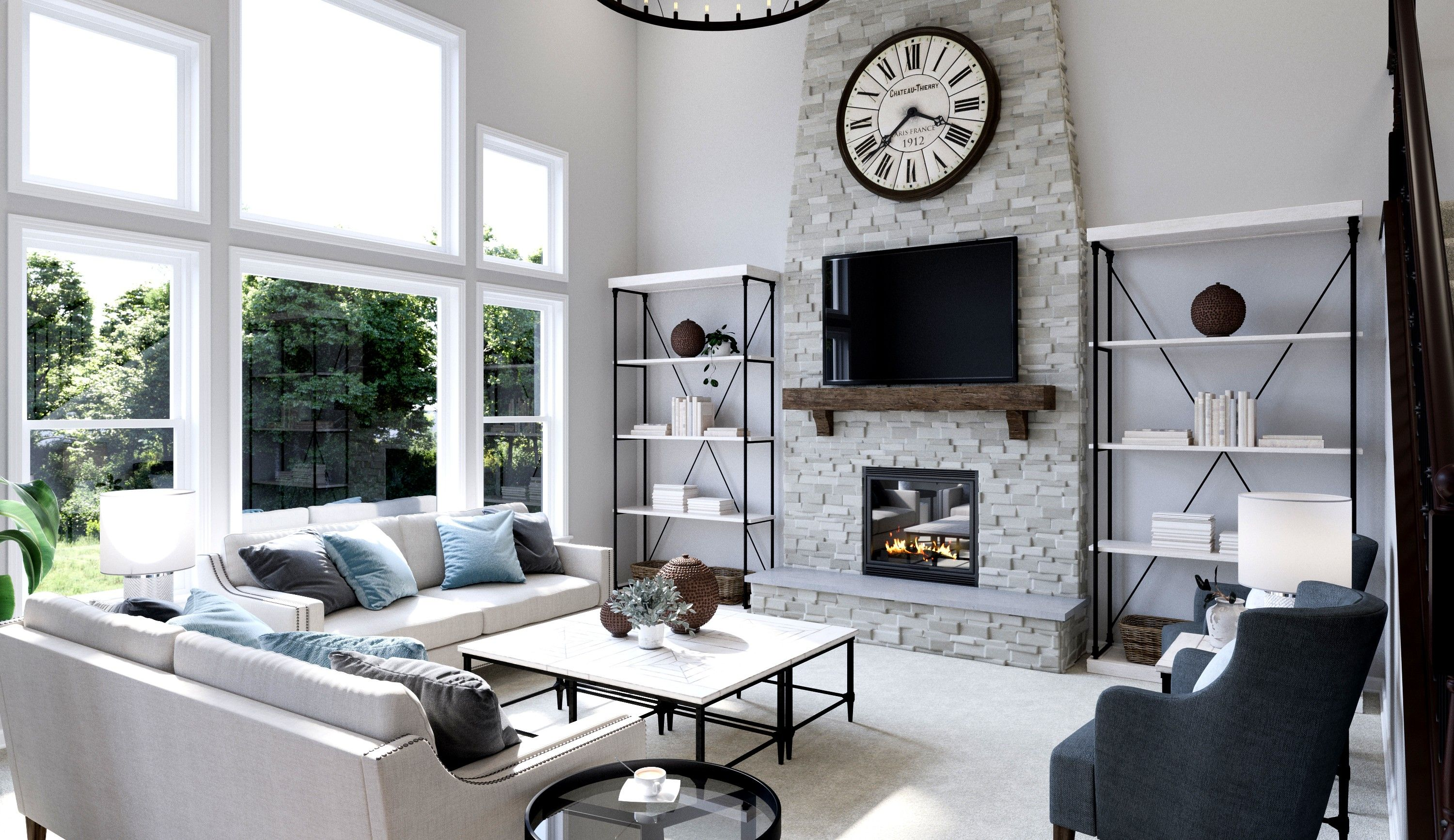 Two Story Great Room With A Grey Brick Fireplace Fischer Homes Avery Model Interior Visualization By Medialab 3d Solutions Home New Homes House Interior