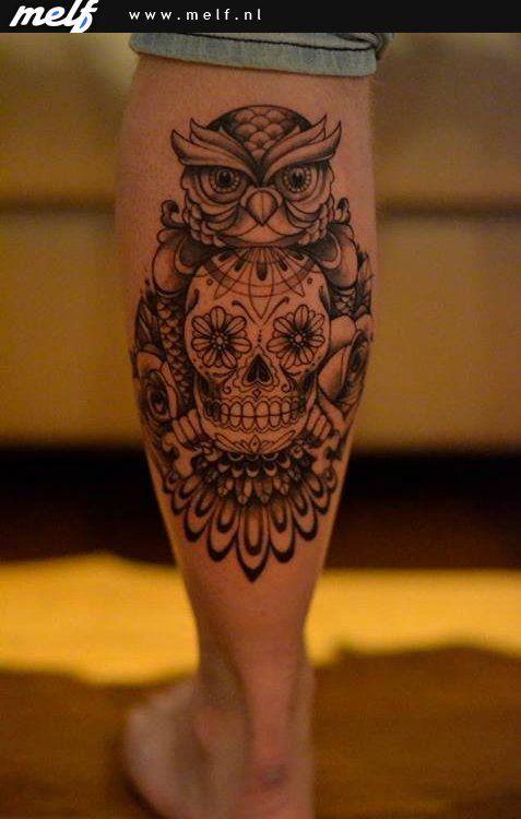 Zeer uilen tattoo met schedel - Google zoeken | Tatoeageonwerpen #SQ96