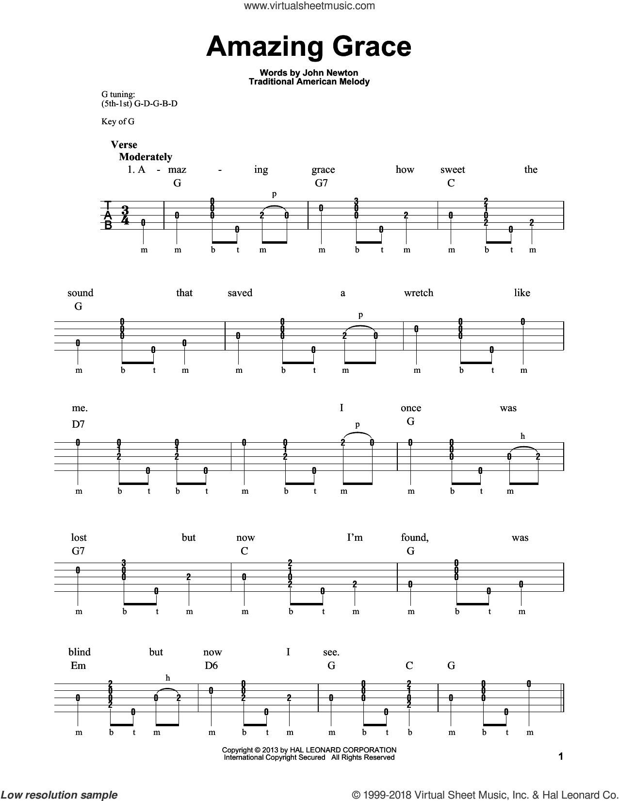 Newton Amazing Grace sheet music for banjo solo [PDF