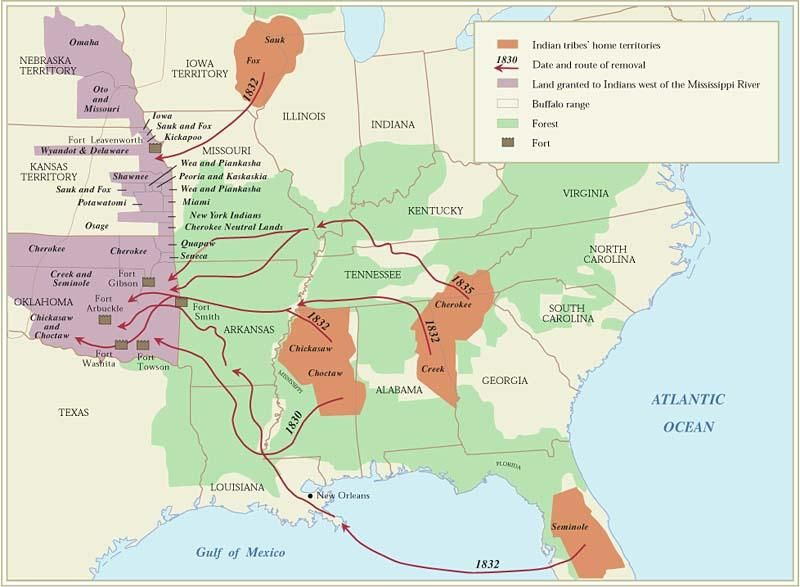 The Indian Removal Act took place in 1830 President Jackson had