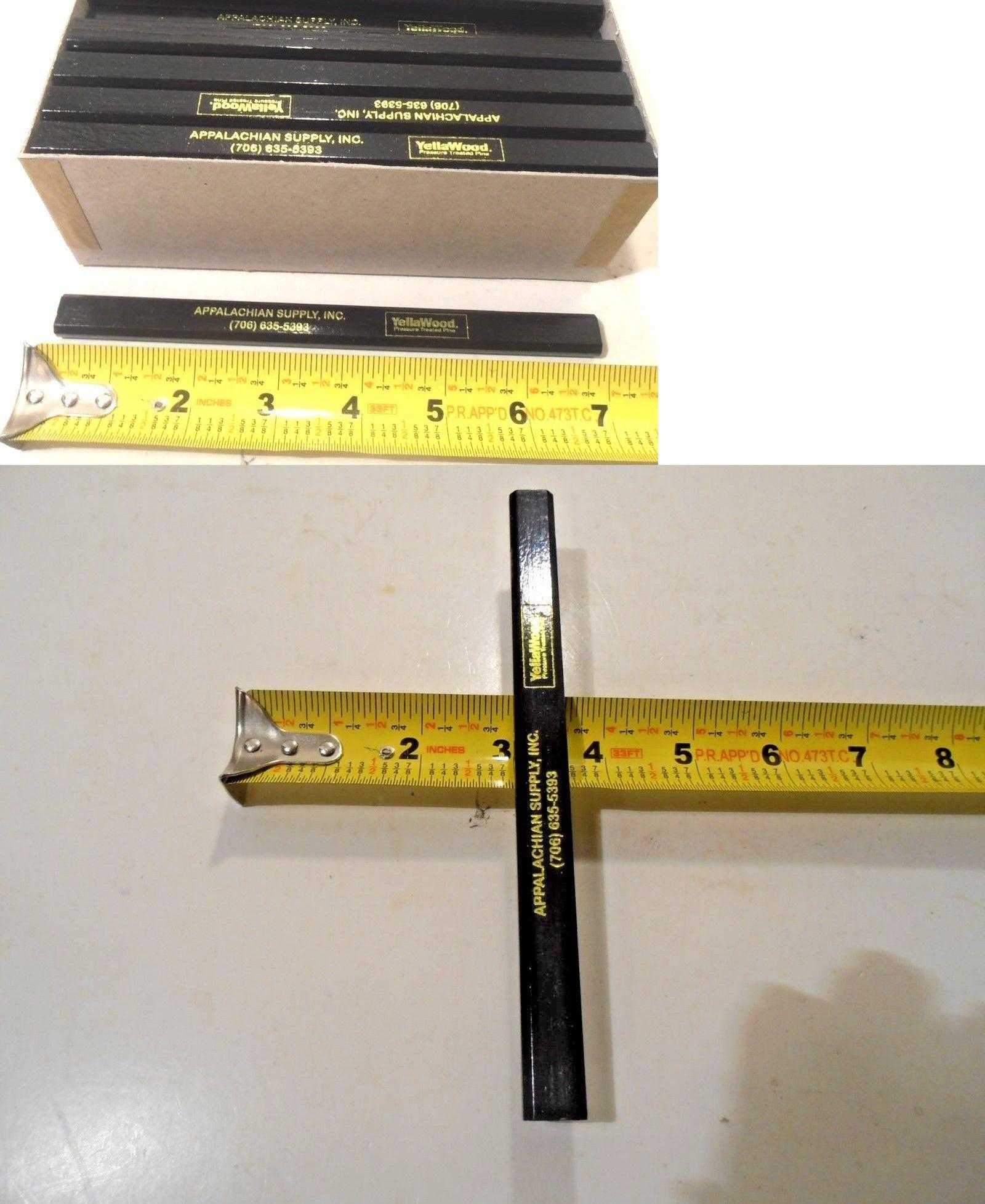 "LOT OF 72 FLAT CARPENTERS PENCILS  BLACK LEAD APPROX.7/"" INCH LONG"