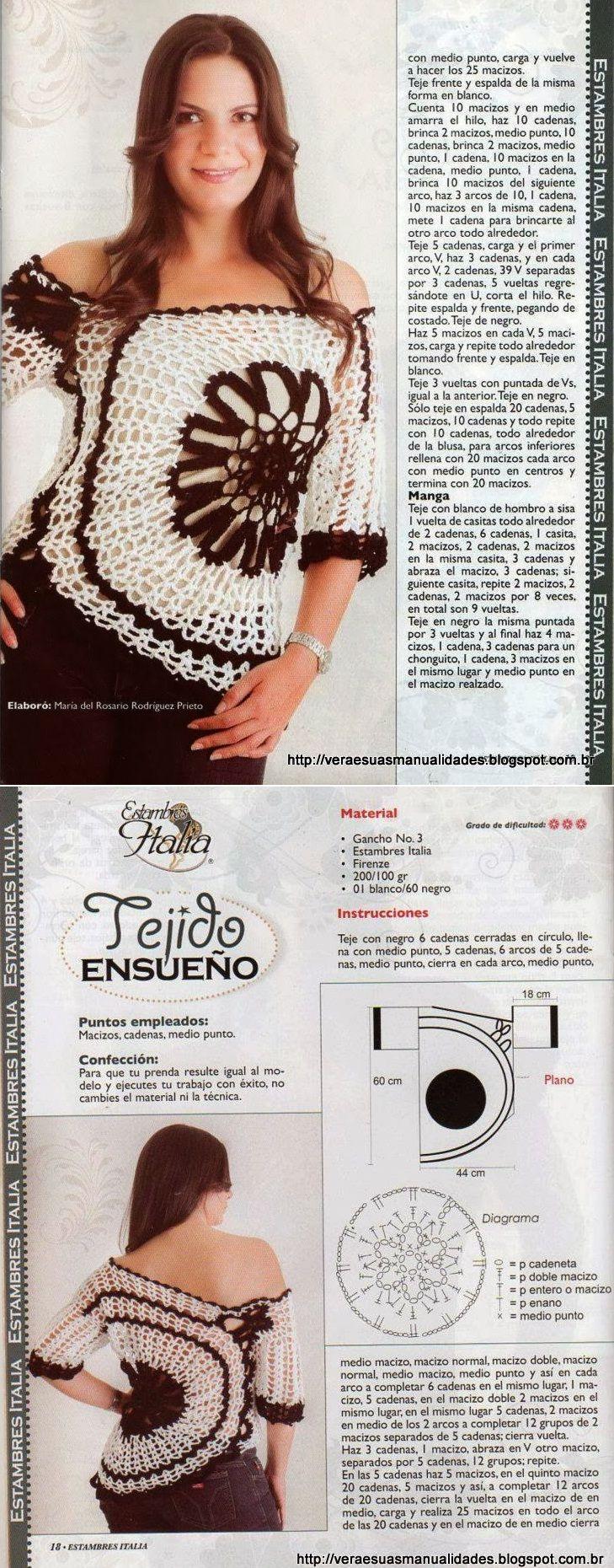 BLUSA ANA MARIA BRAGA-COM RECEITA E GRÁFICO, crochet shirt with offset large round motif on side