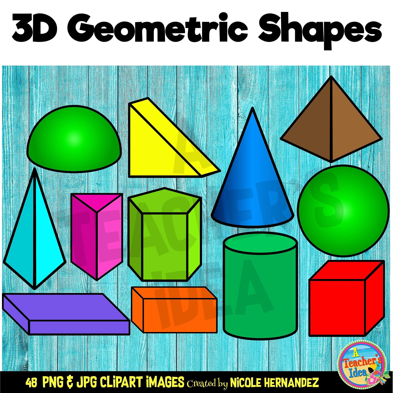 3d Shapes Clipart For Commercial Use Png Images Etsy 3d Geometric Shapes 3d Shapes Clip Art