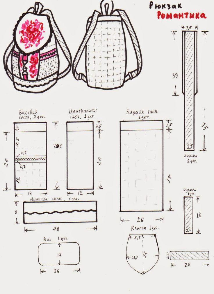 Выкройка джинсового рюкзака своими руками   Рюкзаки   Pinterest ...