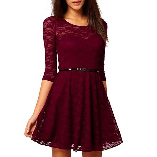 22ce3f26af70 Burgundy Womens Sexy Lace Slim Fit Dress Short Sleeve Party Mini Dress with  Belt
