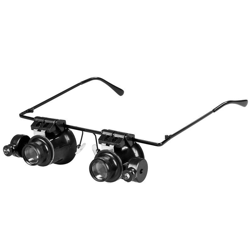 Hot 20X Lente di Ingrandimento Loupe Eye Glasses Lens Gioielliere Ingrandimento di Riparazione Orologio Led Con illuminazione A LED