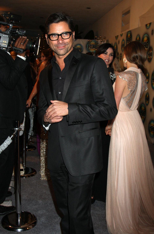 john stamos uncle jesse black suit black shirt black glasses smiling