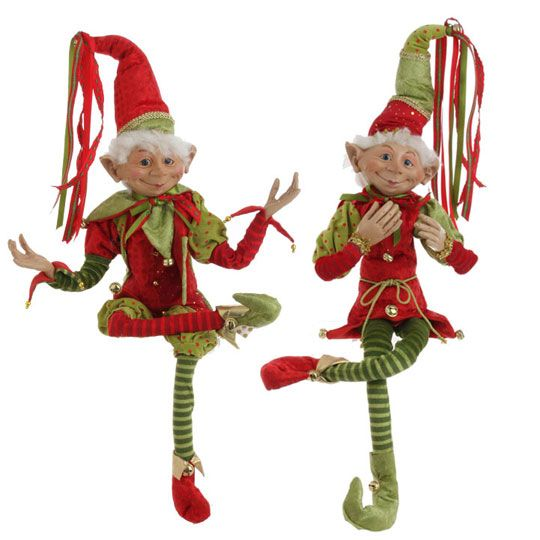 "RAZ Imports Posable Christmas Elf 30/"" Tall with Red /& Green Velvet Outfit /& Book"