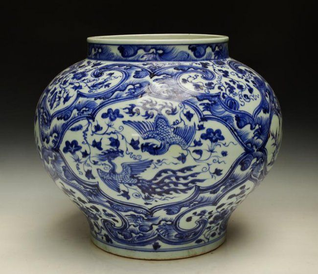 A Top Grade Chinese Ming Blue and White Porcelain Jar Size: H*D 34*39cm