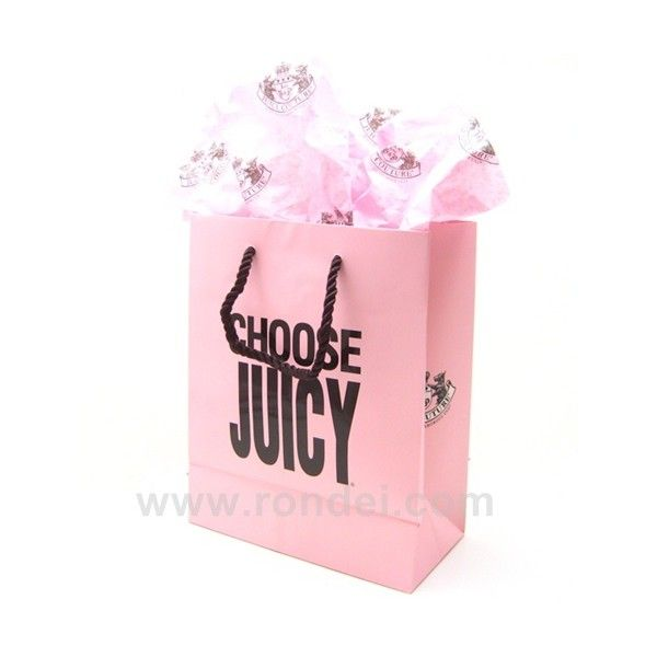 Juicy Couture Gift Bag with Tissue Paper - small : Welcome to Rondei.com found on Polyvore featuring accessories and shopping bags